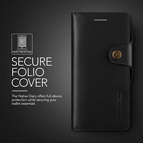 Galaxy Note 7Funda, VRS diseño [nativo diario] [negro]–[todo auténtica piel tipo cartera] [Slim Fit] [ranura para tarjeta] para Samsung Note 7
