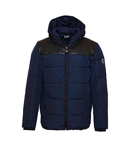 EA7 Emporio armani giacca piumino con cappuccio logo scudetto uomo blu-M
