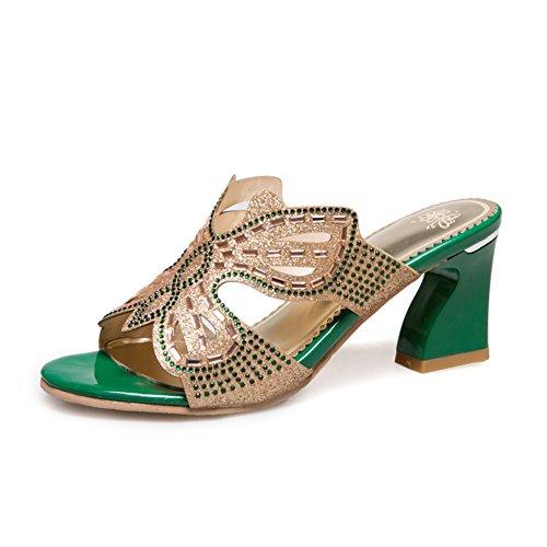 Chunky Tacchi Tacchi Alti/Paillettes Pantofole Una Sola Parola/Le Scarpe Di Mamma A