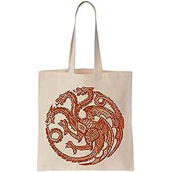 Beautiful Mandala Style Targaryen Dragon In Red Cotton Canvas Tote Bag