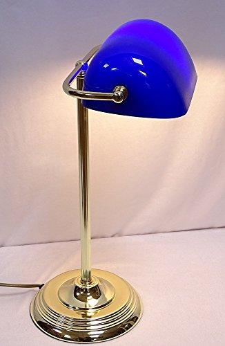 Elegante Art Deko Banker Lampe, Bankerslampe, Messing, blauer Glasschirm