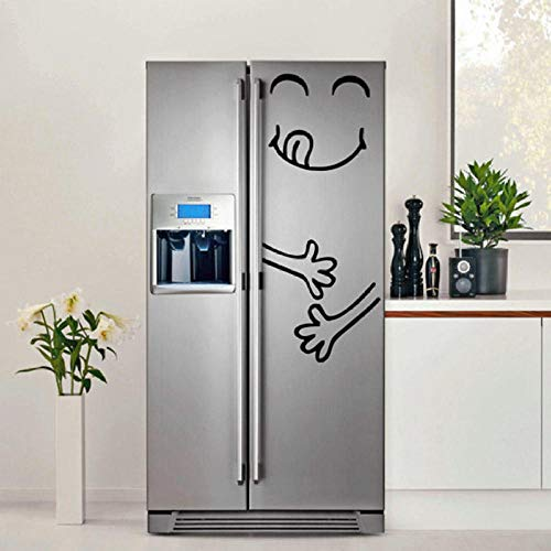 Fagreters Etiqueta engomada linda del refrigerador Feliz Cara deliciosa Cocina Frigorífico Vinilo Etiqueta de la pared Arte refrigerador Tatuajes de pared Decoración para el hogar 40 cm ancho