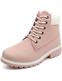 Minetom Mujer Retro Otoño Invierno Botines Calentar Botas De Nieve Anti-deslizante Lazada Zapatos Botas