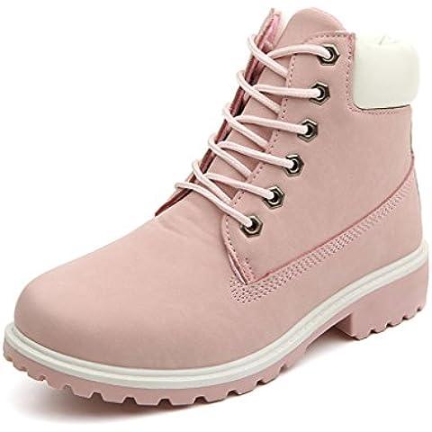 Minetom Mujer Retro Otoño Invierno Botines Calentar Botas De Nieve Anti-deslizante Lazada Zapatos Botas de