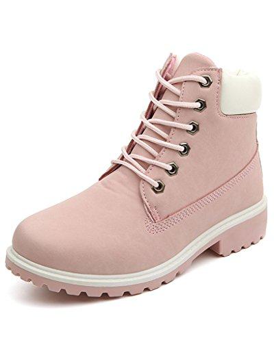 Minetom Damen Schnür Stiefeletten Biker Boots Stiefel Warm Gefütterte Schuhe Robuste Worker Stiefel Pink EU 36