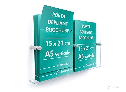 adv-smart Porta Depliant Brochure da parete DOPPIO A5 verticale 15x21 cm, Espositore in Plexiglass con fissaggi in acciaio