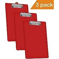 Acrimet bloc-notes Format lettre (A4) Profil bas Clip (couleur rouge Uni) (3–Lot)
