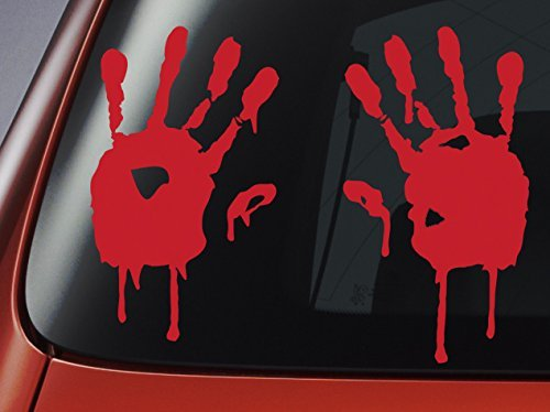 Blood Hand Prints - Red Vinyl Decal - Car, Window, Wall, Laptop Sticker by Level 33 Ltd (Black Country Windows)