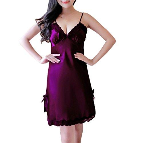 Damen Nachtwäsche FORH Frauen Sexy V-Ausschnitt Träger Nachthemd Slim Fit Satin Babydoll Negligee Reizvolle Spitze Wäsche Kleid Unterwäsche Pyjama (Lila, M) (Up Beige Khaki Lace)