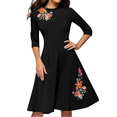 MINGGER Frauen Elegante A-Linie Vintage Applique Stickerei Party Vestidos Kleid(Schwarz)
