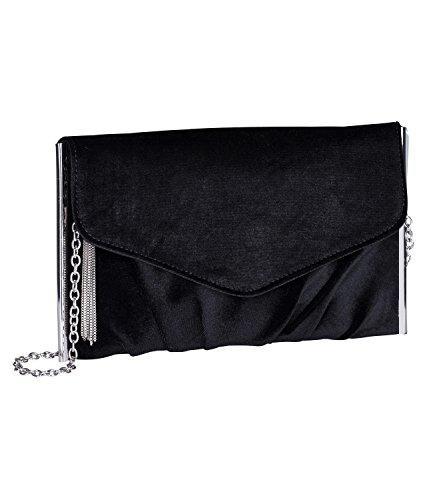 en Handtasche in Samt Optik, Clutch, Pochette, Abendtasche mit Umhänge Kette, schwarzer Samt (726-060) ()