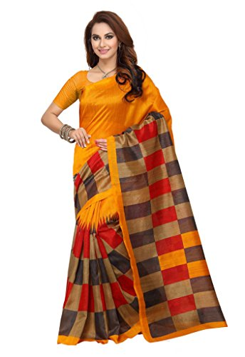 Ishin Bhagalpuri Art Silk Yellow Printed Women's Saree.