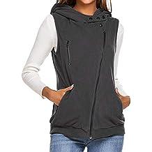 c0a858a18522b0 Beikoard Frauen Reißverschluss ärmellose Kapuzenweste Lässige dünne Fleece-Weste  Jacke Mode ärmellose Strickjacke Cardigan