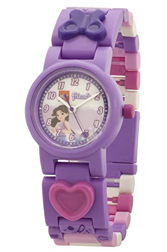 LEGO Friends 8021223 Emma Kinder-Armbanduhr mit Gliederarmband zum Zusammenbauen , lila/rosa , Kunststoff , Gehäusedurchmesser 25mm , analoge Quarzuhr , Junge/Mädchen , offiziell