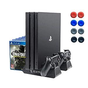 [Neue Edition] PlayStation Vertikaler Ständer Ladestation, Lüfter Kühler Standfuß, Blu-Ray spiele Hüllen Stand 12x, Dual…
