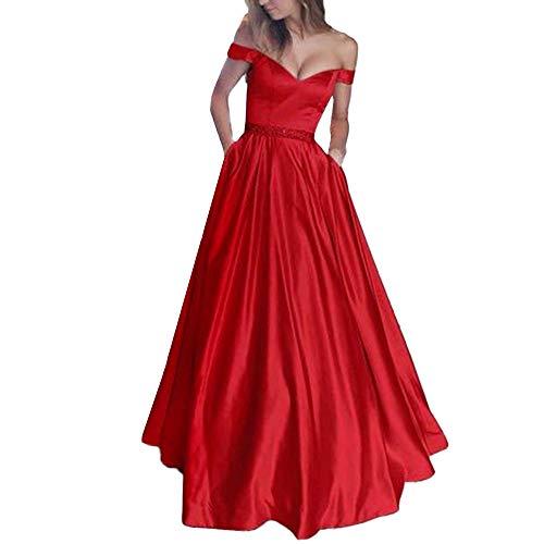 Damen Retro Brautjungfern feiXIANG Schulterfrei ärmellose Feste langes Kleid Party Einfarbig Prinzessin Rock Frauen Abendmode Ballkleid (Rot,L) (Carrie Weiß Kostüm)