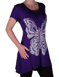 Eyecatch Plus - Schmetterlings Motiv Lang Frauen Kurzarm lose Damen Stretch Top Sizes 42-56