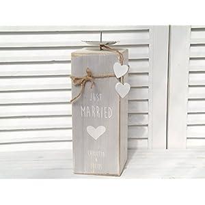 großer personalisierter Kerzenständer aus Holz zur Hochzeit / Hochzeitsgeschenk / Hochzeitskerze
