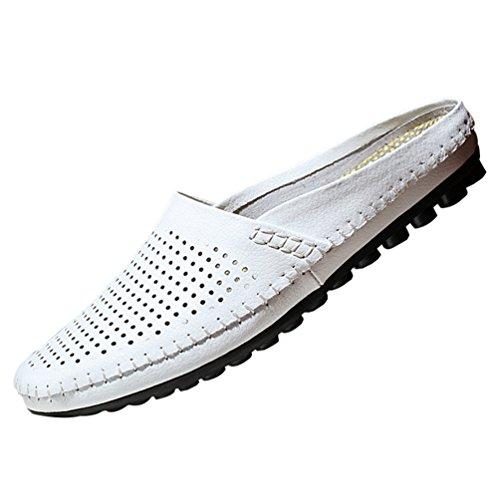 YiLianDa Sabots d'été pour Homme Sandales de Plage Cuir Pantoufles Blanc