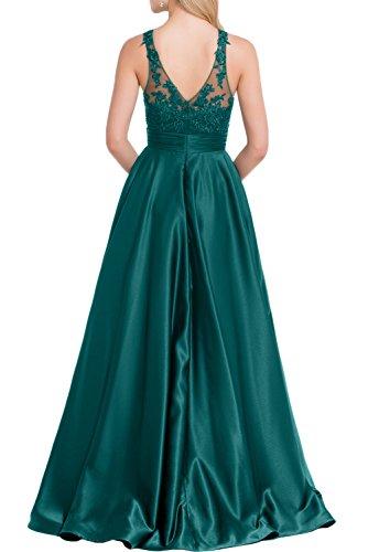 Gorgeous Bride Fashion Lang A-Linie Satin Tüll Spitze Brautmutterkleider Partykleider 2017 Damen Festlich Abendkleider Lang Cocktailkleider Ballkleider Grün