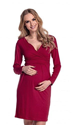 Happy Mama Donna Abito Elasticizzato Prémaman Per L'allattamento Vestito 285p Crimson
