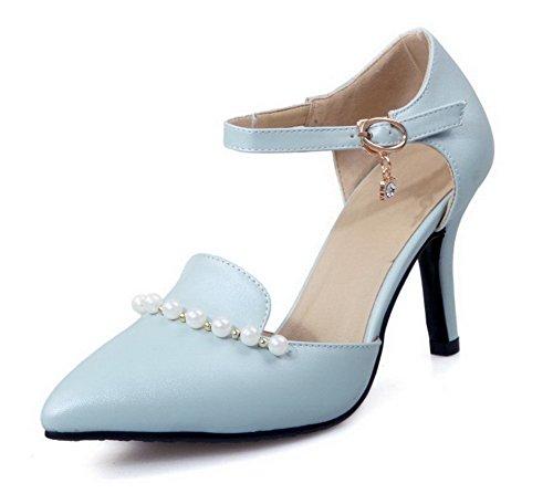 AllhqFashion Femme Matière Souple Boucle Pointu Couleur Unie Chaussures Légeres Bleu