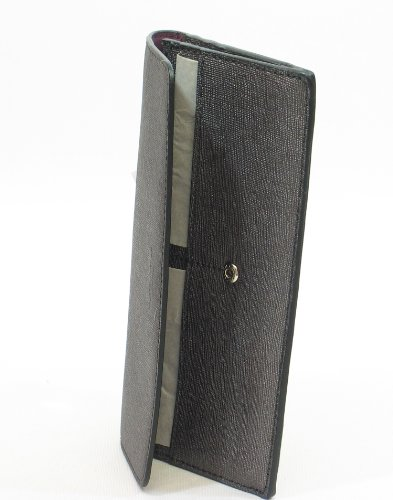 Coach Womens Saffiano Leather Textured Slimfold Wallet Silver O/S