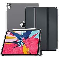MoKo Funda para iPad Pro 11 2018,Cubierta Trasera Translúcida con Soporte para Funda con Accesorio Magnético de Stylus Apertura Lateral con Auto Sueño/Estela para iPad Pro 11 2018 - Gris Espacial