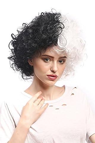WIG ME UP ® - 91344-P103-P68 Perruque Femmes Halloween Carnaval, bouclés, afro, volumineux, moitié noir et blanc Frankenstein
