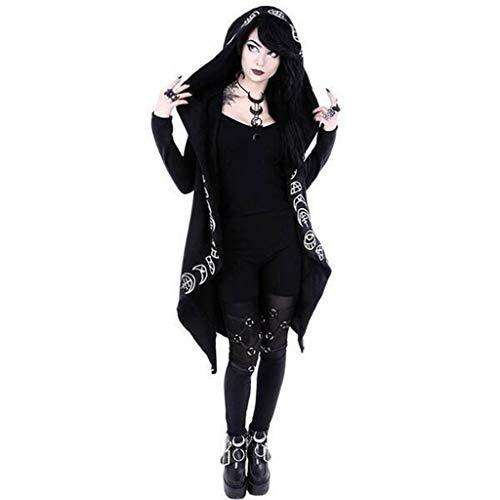 Amphia Mantel- Damen Mantel Gehrock mit Spitze von Punk Rave Lolita Gothic (Schwarz -B, XXXXXL)