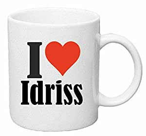 """Tasse de Café .. Tasse à Thé … Coffee Mug """" """"I Love Idriss"""" ... Hauteur 9 cm de Diamètre 8 cm Volume 330 ml ... Le cadeau idéal pour leur Partenaire - Collègue - Amis"""