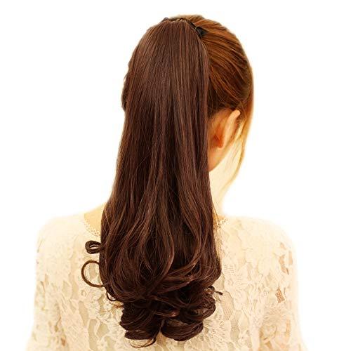 Golden Lank Women Hair Glattes Haar Hochtemperaturseide Pferdeschwanz Haarband Perücke Gebunden Pferdeschwanz (Dunkelbraun) -
