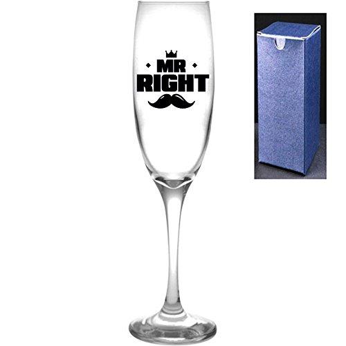 fantaisie gravé/imprimé Prosecco Flûte à champagne – Mr Right, Noir, Do Not Engrave A Message On The Reverse Side