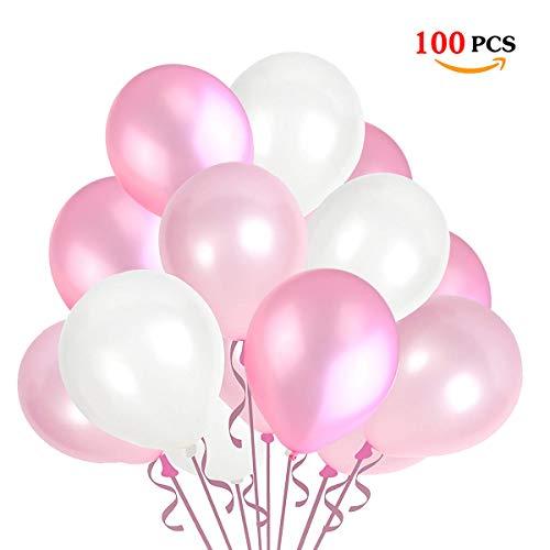JOJOR 100 Stück Luftballons Rosa Weiß Pink,Helium Luftballons Rosa, Perle Latex Ballons Helium für Hochzeit Geburtstag und Mädchen Taufe Kommunion Party Deko,3 Farben (100 Helium Luftballons)