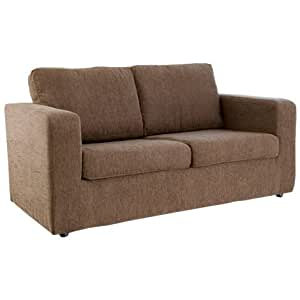 WorldStores Leigh Sofa Bed in Brown - 2 Seater Sofa Bed - Small Double Bed Frame - Foam Mattress - Brown