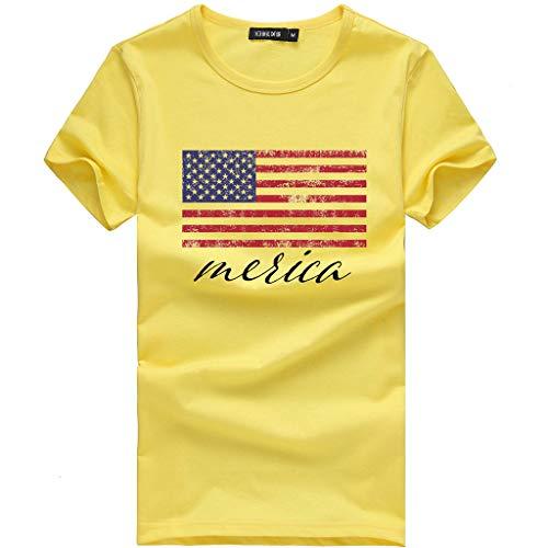 Moserian Damen modische lose amerikanische Flagge Kurzarm bedrucktes T-Shirt Top Bluse