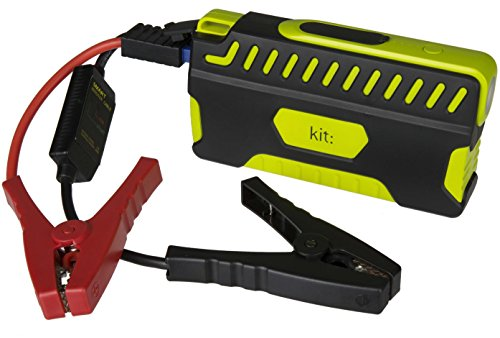 Kit Vehículo Jump Starter Power Bank 12000 mAh, con Linterna integrada y Motores de Gasolina de Arranque para Coches y Motos (hasta 3,0 l), Color Negro y Verde