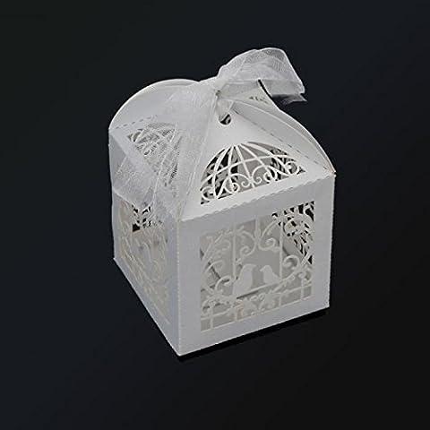 Drawihi 50pcs Blanc Candy Box Mariage Nom de style spécial Intégré Nid d'amour
