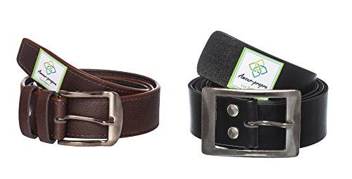 Amour-propre Belt Combo - Brown - Self design- Black Granular Square Buckle