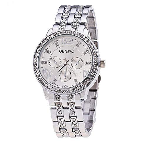 Neue Quarzuhr Frauen Exquisite Lederband Diamant Beschlagene Edelstahlarmband Verknüpfte Liste(Silber) -