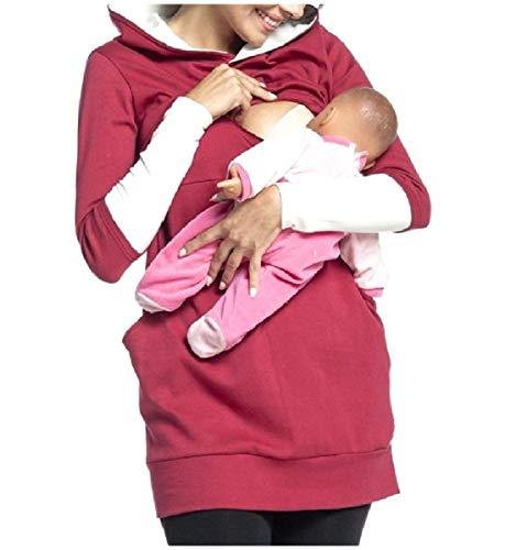 CuteRose Women's Splicing Cozy Breastfeeding Long Tunic Hoodie Sweatshirts Wine Red XL - Cowl Neck Cream