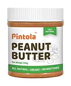 Pintola All Natural Peanut Butter (Creamy)   Unsweetened   30g Protein   Non GMO   Gluten Free   Cholesterol Free (350g)
