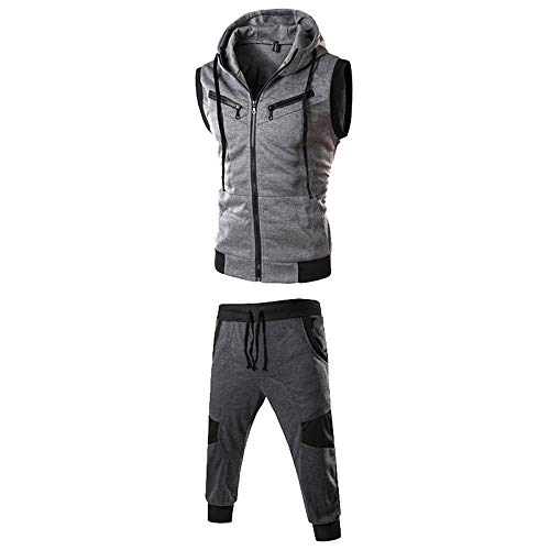 MRULIC Herren Sportanzug Kapuzenpullover Order Hosen Pure Color ärmelloses Tops Sweatshirt Weste Mit Kapuze und Sporthosen(Anzug:Dunkelgrau,EU-42/CN-L)