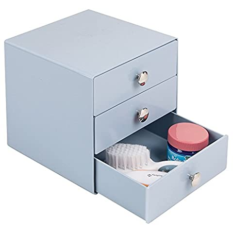 mDesign Étagère de rangement à 3 tiroirs, Baby Nursery, pour sucettes, médicaments, lotions, thermomètres, aspirateur nasal - Bleu ardoise