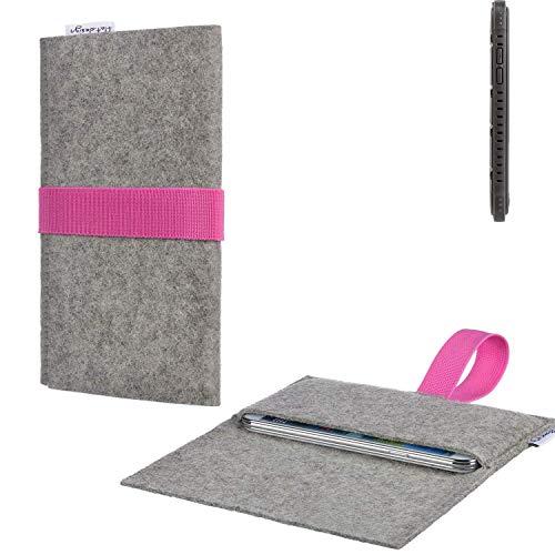 flat.design Handy Tasche Aveiro mit Filz-Deckel und Gummiband-Verschluss für Cyrus CS 35 - Sleeve Case Etui Filz Made in Germany hellgrau rosa - passgenaue Handyhülle für Cyrus CS 35
