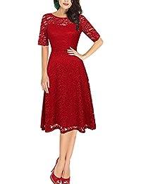Dolamen Mujer Cordón Vestidos, Cuello redondo Vintage y estilo retro, Slim Fit A-line Rodilla-largo, Vestido corto del cordón de la manga, perfecto para el partido y la boda