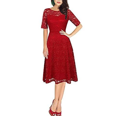 Dolamen Damen Spitze Kleider, Runder Ansatz Weinlese und Retro- Art,