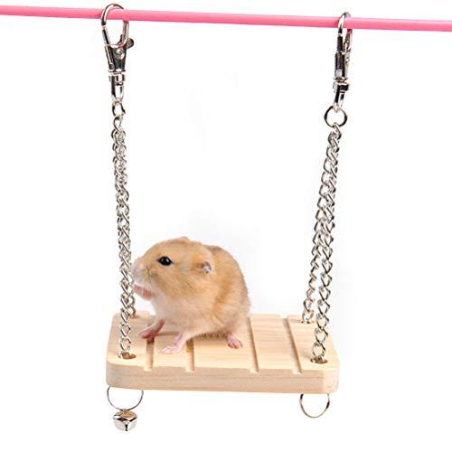 Toyvian Holzschaukel zum Aufhängen von Haustieren/Hängematte/Maus Hamster/Spielzeug mit Glocke zum Hängen/Hängen/Schaukelstuhl/Spielzeug für Haustiere klein mit Kette