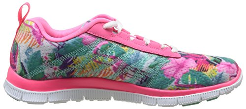 Skechers Flex Appeal Floral Bloom, Chaussures de sports en salle femme Rose (Rose/Multi)