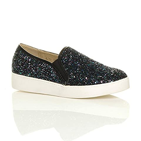 Womens ladies casual slip on glitter plimsolls pumps trainers shoes size 7 40
